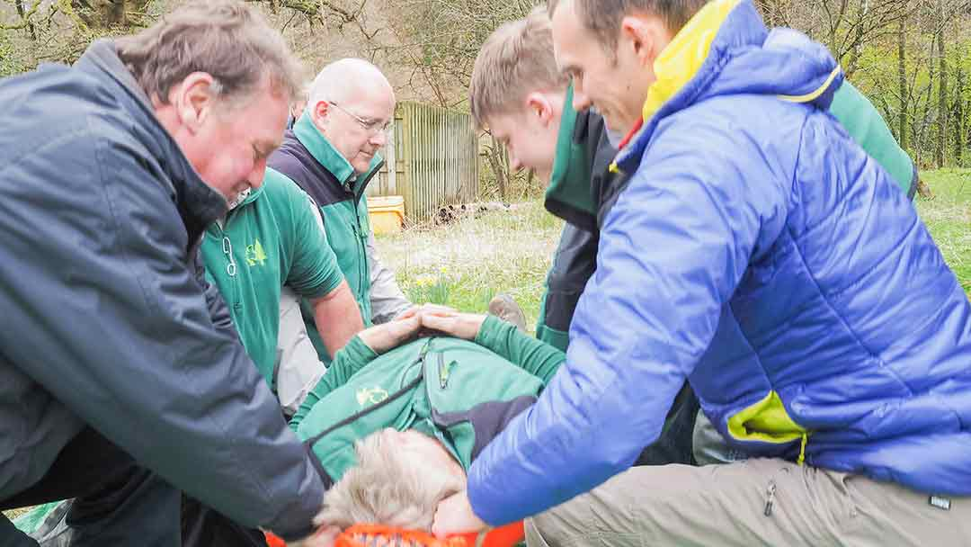 forestry commission first aid course with with workers around a casualty