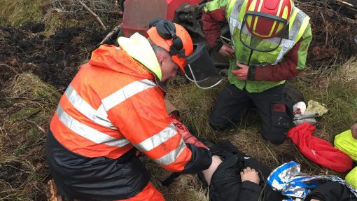 forestry first aid training on site in inverness with simulated casualties