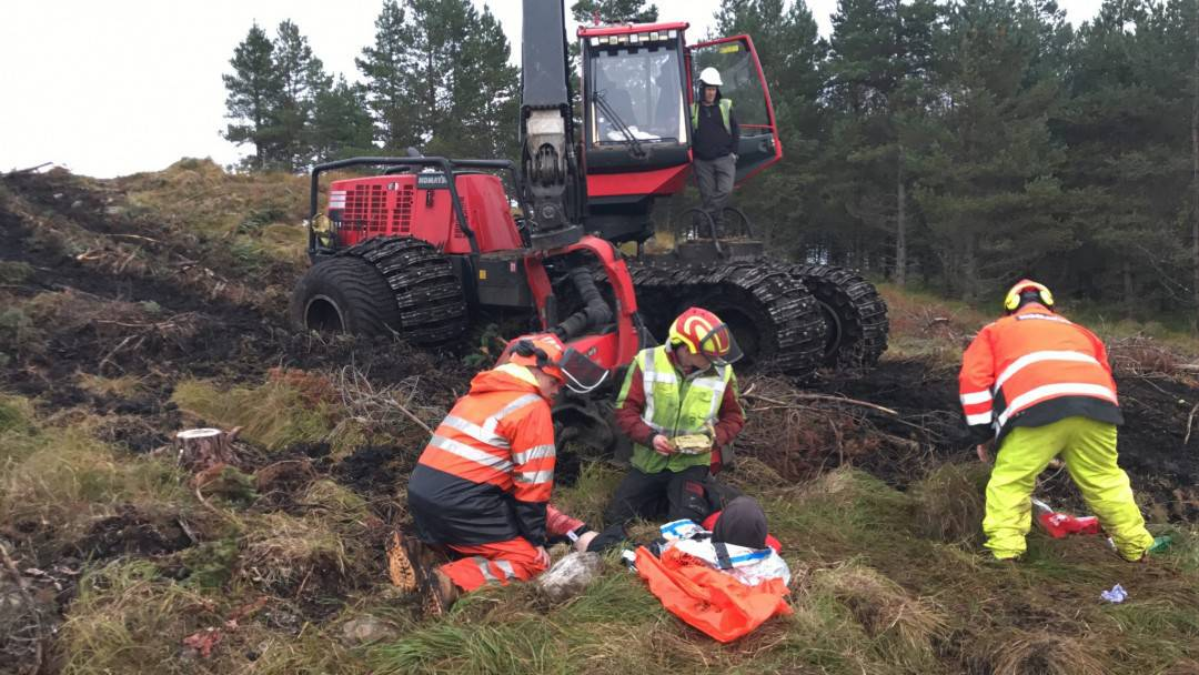 forestry workers first aid training course with forest machinery in the background