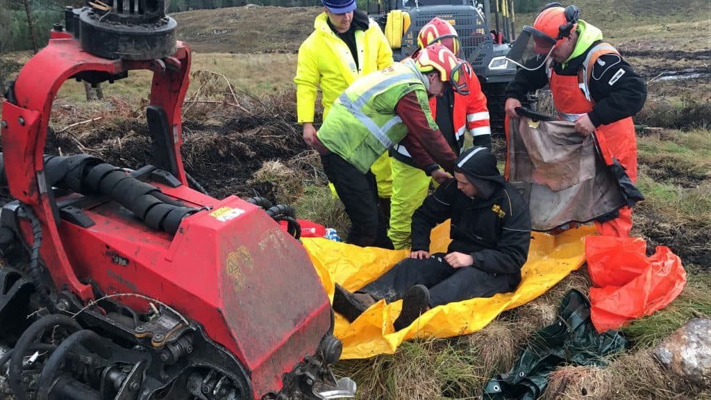 people treating a casualty on a first aid course with forestry in Inverness scotland